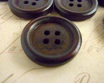 Three Quarter Inch Dark Wooden Buttons Round - Pack of 20