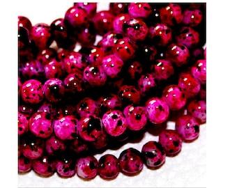 100 black mottled pink glass 4 mm beads