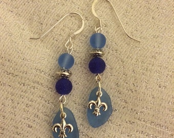 Blue Fleur De Lis Drop Earrings