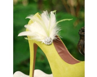 Shoe Clips Lime Green & Ivory / White / Black Feathers Rhinestone. Bride Bridal Bridesmaid, Lush Chic Edgy, Spring Birthday, Sassy Statement