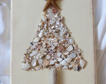 Crushed Shell Tree, Coastal Christmas Tree, Christmas Tree, Seashell Tree, Coastal Decor. Coastal Art