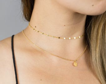 Dainty Gold Choker / Gold Chain Choker / Gold Lace Choker / Chain Lace Chain Choker / Thin Gold Choker Necklace / Everyday Choker