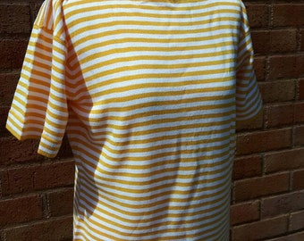 Vintage Jaeger yellow and white short sleeved knitted top unworn still with tags