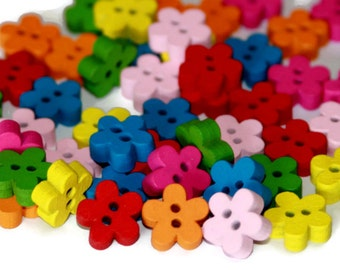 50 Flower Buttons 12mm - Painted Wooden Flower Shaped Buttons - Bright Colour Thick Wood Buttons - PW56