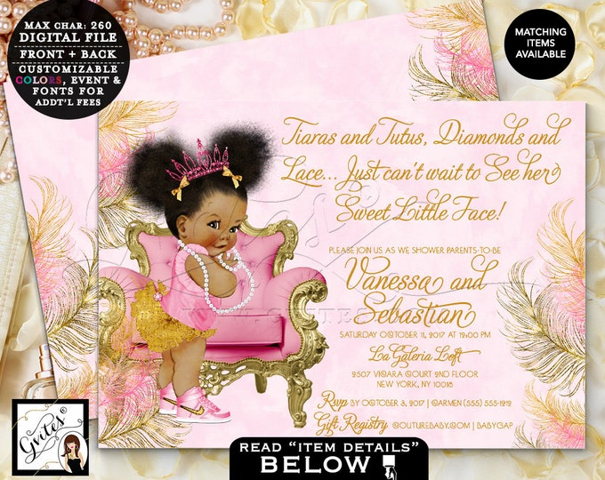 Pink & Gold Princess Baby Shower Invitation, Vintage Baby Girl, Afro Puffs, African American Invitations, Double Sided Gold Pink 7x5 Gvites
