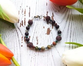 crystal bracelet, diffuser bracelet, gemstone bracelet, beaded bracelet, wood bracelet, jasper bracelet, lava bead bracelet, jasper