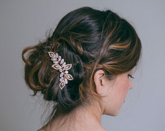 Bridal hair comb, Bridal Headpiece, Gold hair comb, Gold leaf hair comb, Gold Hair vine, Gold headpiece, Rose gold hair comb