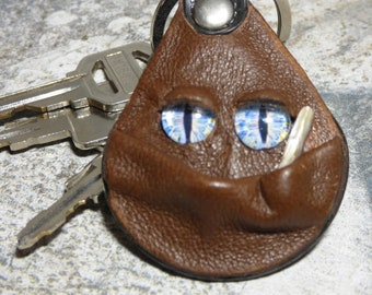 Hand Made Leather Key Chain Ring Fob With Face Eye Key Purse Charm Monster 340