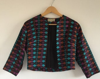 Vintage 1960s Edith Flagg California Cropped Jacket/Blazer with Colorful Jewel-Toned Geometric Print