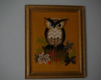 Mid Century, Owl embroidery, crewel, wall hanging, 1960s, 1970s, Retro art, owl art