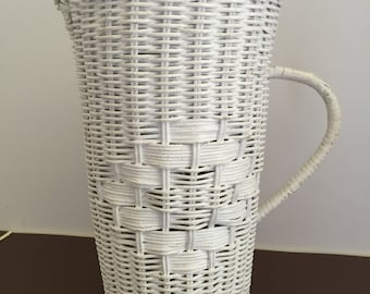 White Wicker Pitcher with Removable Plastic Pitcher & Lid Insert