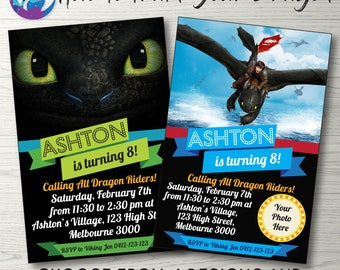 How to Train Your Dragon Invitation, Hiccup and Toothless Invitation, Toothless Dragon Invitation, Toothless Invite, Train Your Dragon Party