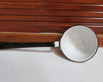 White Black Enamel Ware Ladle