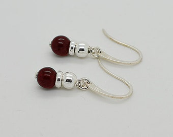 Genuine Garnet Sterling Silver Earrings 27