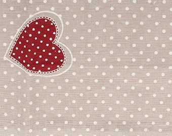 Cotton printed red hearts - coupon 30 x 90 cm - Ref 13020096 - until the stock!