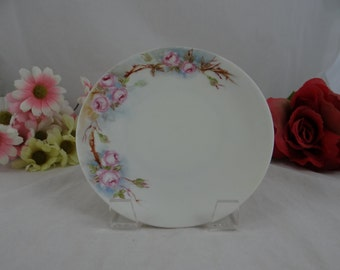 Vintage 1910s Imperial PSL Austrian Hand Painted Artist Signed Pink Rose Plate