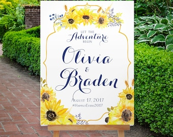 Printable Sunflower Wedding Welcome Sign, Large Welcome Sign, Romantic Elegant Reception Sign, Floral Wedding Sign, Boho, The Mendocino