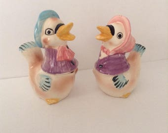 Vintage Anthropomorphic Ducks 4 Piece Set, Creamer & Sugar With Salt n Pepper