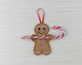 ONE Gingerbread Man Candy Cane Holder Christmas Xmas Tree Hanging Decoration or Stocking Stuffer Filler - Christmas in Jul - CIJ