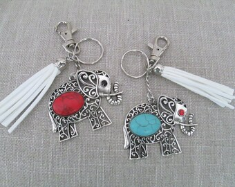 Elephant Tassel Keychain ~ Elephant Key Chain Key Ring ~ Elephant Purse Charm ~ Sorority Gift  ~ Good Luck Jewelry
