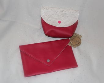 Whole kit and fuchia leather pouch