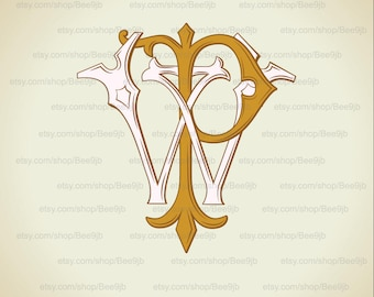 Wedding logo  WP,PW | Vintage Monogram | Wedding Clip Art