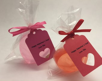Personalized Pink or Red Valentine Soap Class Favor, Classroom Valentine Favor with Personalized Happy Valentine's tag, School Favor