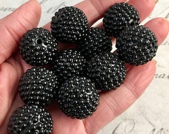Black Nubby Beads, 22 mm, 10 per lot, only 1 lot available