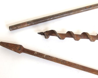 Vintage Rusted Bell System, Irwin Drill Bits for Industrial / Farmhouse Decor
