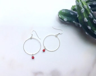 Minimalist Hoop Earrings, Red Riverstone Hoop Earrings, Natural Stone Hoop Earrings, Sterling Silver Hoop Earrings, Dangle Earrings