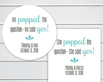 Popped the Question, Custom Wedding Favor Stickers, Engagement Stickers, Popcorn Stickers (#235)