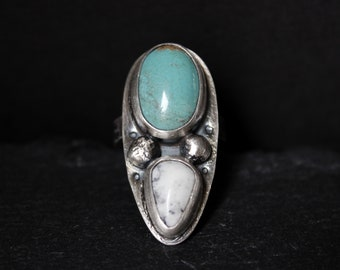 READY TO SHIP - Pilot Mountain x White Buffalo Turquoise Sterling Silver Ring | Size 6.25 | Minimalist Boho Bohemian | Gugma Jewelry