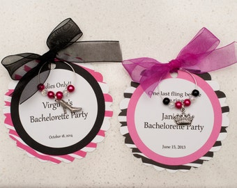 Customized Bachelorette Party,Wedding Shower, Wedding, Birthday Party Wine Charm Favors