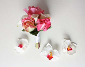 Pink and Cream Real Touch Rose Nosegay with Calla Lilies