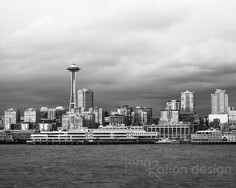 Seattle Skyline Photo, Space Needle, Seattle Art, Architecture Photography, Seattle Photo, Black and White, Cloudy Sky, Photograph Print