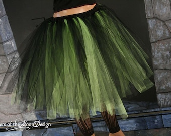 Streamer knee length tutu skirt  black and neon cirtrus  adult- - You Choose Size -- Sisters of the Moon