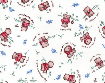 PEEK a BOO Bears, Red, Cotton Baby Rib Knit Fabric, by the FQ 18x27 inches