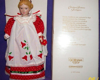 """New In Original Box 1987 Gorham OLD WORLD Vintage Porcelain Head Doll Tree Topper 12"""" Tall"""