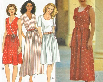 90s Womens One Piece Dress Neckline Variations Simplicity Sewing Pattern 7193 Size 12 14 16 Bust 34 36 38 UnCut Sewing Patterns