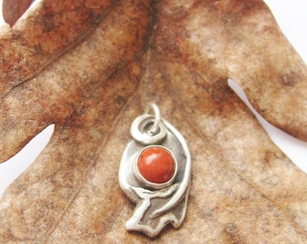 Oak Leaf, autumn color, leaf pendant, oak pendant, red jasper, red oak leaf, sterling silver jewelry, mens jewelry