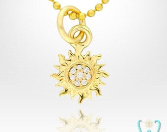 14K Tiny Pave Diamond Sun Charm Pendant or Necklace