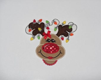 """Embroidered Iron On Applique """"Reindeer Necklace"""""""