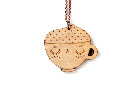 Coffee cup pendant - kawaii cappuccino necklace - food jewelry for coffee lover - lasercut maple wood - lasercut jewellery - cute - graphic