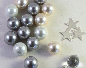 White, Cream and Silver Round Glass Pearl Beads with Silver Star Charms and Crystal Acrylic Drops