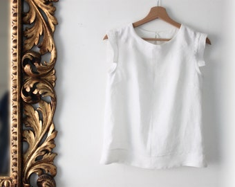 Woman white shirt, woman linen shirt, linen top, white top, Mothers day gift, sleeveless top, petite size, sustainable clothes made in Italy