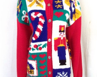 vtg Karen Scott euc Busy Chunky Pixelated UGLY Christmas Sweater party winner M