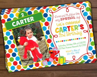 Sesame Street Invitation, Elmo Invitation, Elmo Birthday Invitation, Sesame Street Birthday Invitation