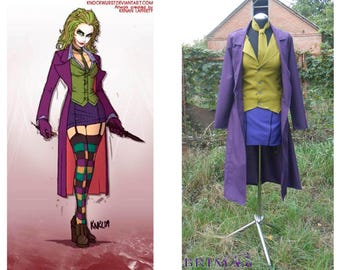 Lady Joker hand made costume & Batman:The Dark Knight Joker Cosplay Costume Handcraft Size