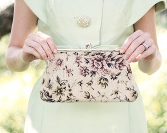 Vintage Tapestry Clutch Purse in Beige with Pink Roses
