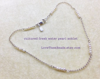 tiny white seed pearl beaded silver chain anklet dainty delicate anklet for bride wedding anklet bridesmaids gift custom made to order